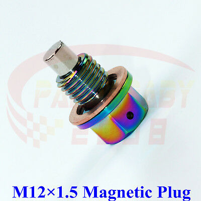 M12x1.5 Neo Chrome Engine Magnetic Oil Pan Drain Plug Bolts Crush Washer M12