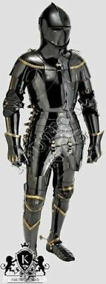 collectible medieval knight fully black antique armor combat reenactment replica