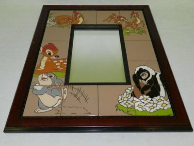 disney reflections of bambi hand painted tile mirror #23/50 by frank