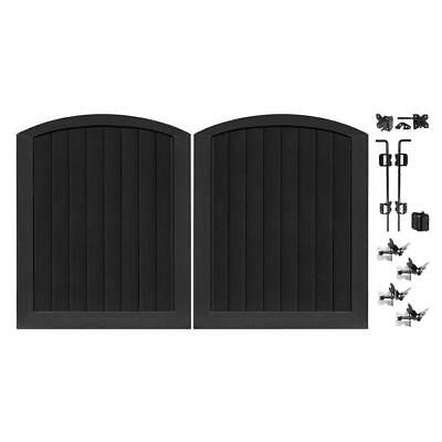 black vinyl 5 ft. w x 6 ft. h anaheim privacy double drive through arched gate