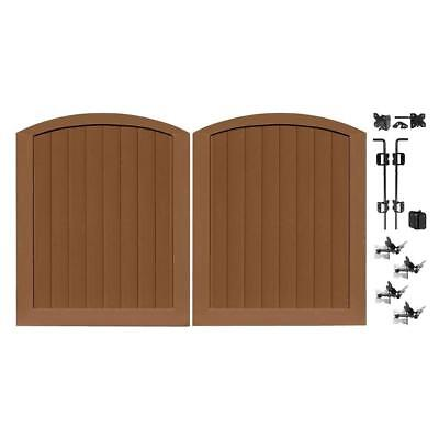 brown privacy 5 ft. w x 6 ft. h vinyl anaheim double drive through arched gate