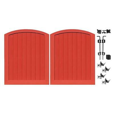barn red 5 ft w x 6 ft h privacy vinyl anaheim double drive through arched gate