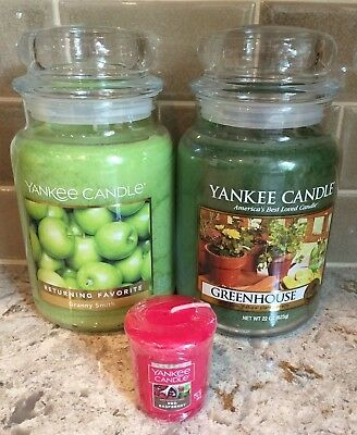 Two Yankee Candle 22 Oz  Granny Smith Apple + Greenhouse + Rasberry Votive