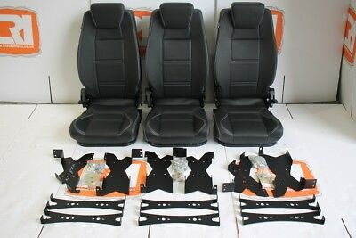 second row high back black vinyl white stitch seats fits land rover defender 110
