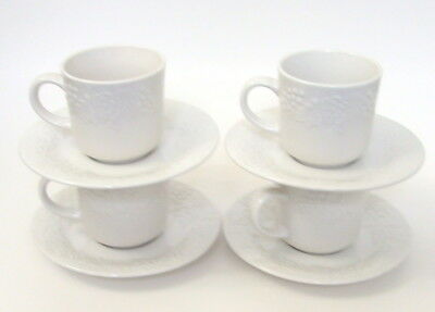 Lot Of 4 Gibson Housewares Cup Saucer Sets White Grapes Leaves Basket Weave Vtg