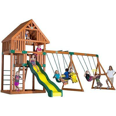 Brown Surface Mount Quest All Cedar 900-lb Load Capacity Playset With Wood Roof