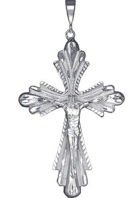 Huge Heavy Sterling Silver Crucifix Cross Pendant Necklace 5 Inches 50 Grams