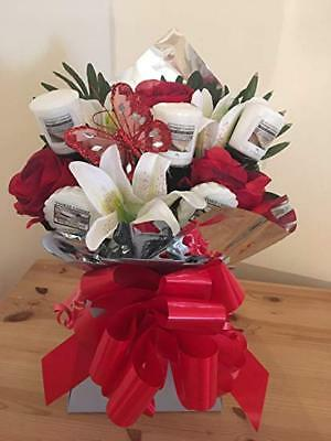 Handmade Yankee Candle Flower Bouquet Red Roses And White Lily Gift