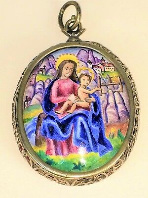 Reliquary-medallion. Virgin Of Montserrat. Silver. Enamel. Spain. Xviii-xix