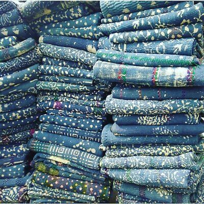 Indigo Blue Vintage Kantha Throw Blankets Handmade Old Reversible Dyed Quilt