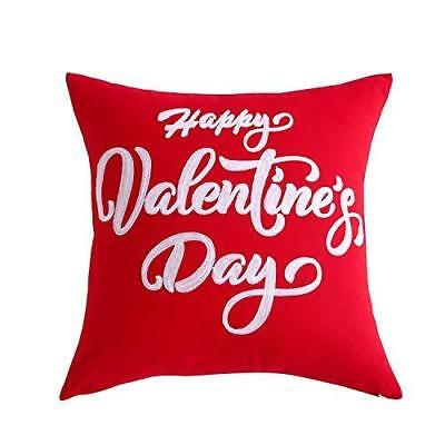 White Embroidered Red Happy Valentines Day Lovers Gift Throw Pillow Case / Cover