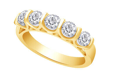Valentine's Day 1.00ctw Certified Five-stone Diamond Band Ring 14k Yellow Gold
