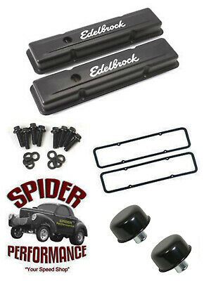 Chevy 283 327 305 350 400 Small Block Valve Cover Kit Low Profile Black Steel