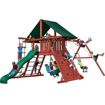 Pre-stained Brown Cedar Wood Sun Climber I With 800-lb Load Capacity Playset