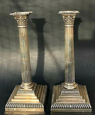 Antique Huge British Sterling Silver Candelabra Candle Holder Pair Candlestick