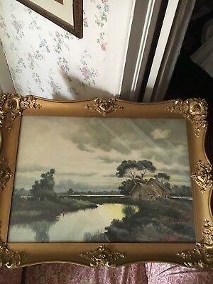 Antique Water Color Signed R. Gigli Roma Framed Under Glass Painting