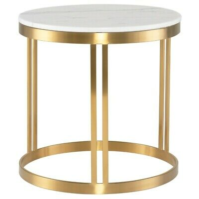 """23.8"""" T Tamara Side Table White Veined Solid Marble Gold Brushed Stainless Steel"""