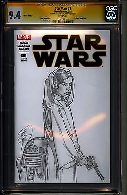 Star Wars 1 Variant Edition Cgc Ss 9.4 Carrie Fisher Sketch By Dave Dorman Rare!