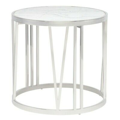 """23.8"""" W Side Table White Marble Polished Stainless Steel Roman Numeral Base"""
