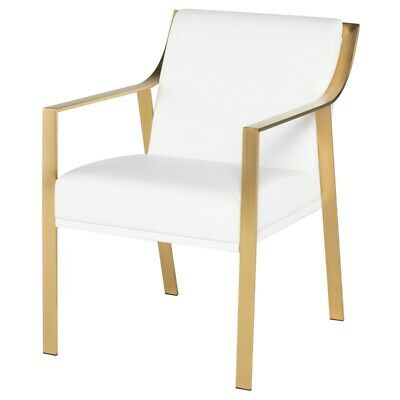 """23"""" W Dining Chair White Naugahyde Flattened Stainless Steel Gold Brushed Frame"""