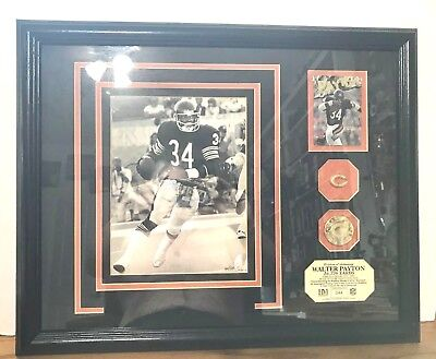 Rare Highland Mint Plaque -- Walter Payton Autograph Gold Medallion Photo 44/55