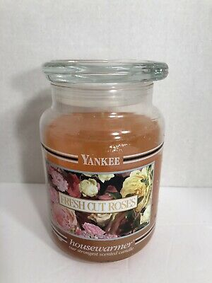 Yankee Candle Housewarmer Fresh Cut Roses Scented Candle Black Band Jar 22oz New