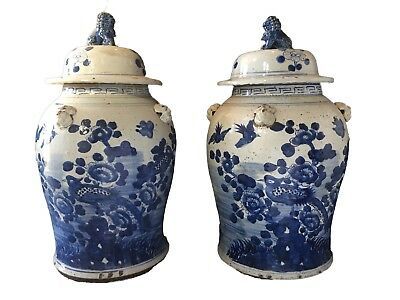 """Chinese Hand Painted Blue & White Ginger Jars  Pair 24"""" H"""
