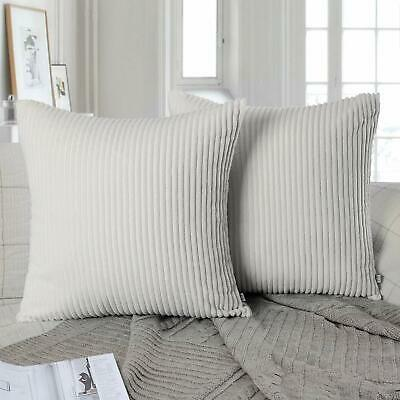 2pc Throw Pillow Cover Case 18x18 Solid Soft Striped Velvet Corduroy, Off-white