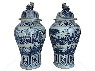 """Mansion Size Chinoiserie B & W Porcelain Ginger Jars   Pair 35.5"""" H"""