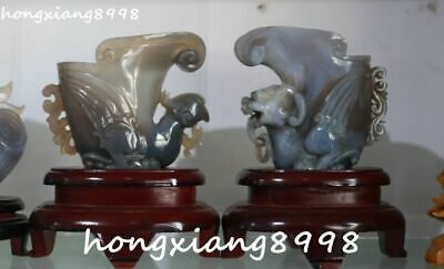 """7"""" natural agate onyx carving dragon loong phoenix beast cup cups statue pair"""