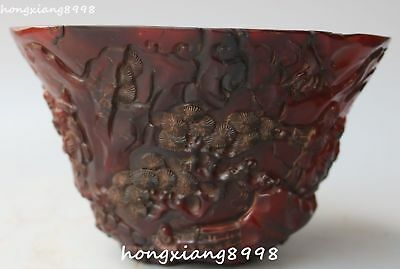 china ox horn oxhorn carving pine tree older man bowl bowls mug cup cups statue