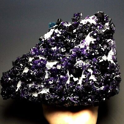 3145g New Find Natural Cube Deep Purple Fluorite Crystal Cluster Mineral Specime