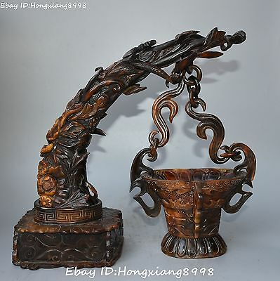 """12"""" rare china ancient oxhorn ox horn dragon beast flower hang cup cups statue"""