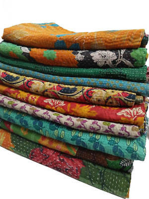 50 Pc Wholesale Lot Vintage Kantha Throw Sari Blanket Reversible Quilt Bed Cover