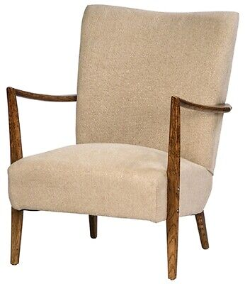 """24"""" W Gabriel Chair Thick Beige Linen Upholstery Solid Oak Contemporary Styling"""