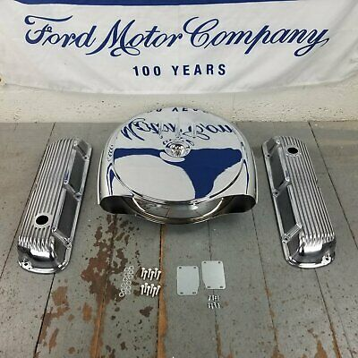 Ford Sbf Chrome Caddy Ac Engine Dress Up Kit No Breather 260 289 302 351 Windsor