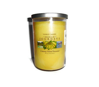 New Yankee Candle Canary Island Banana Glass 2 Wick World Journeys  20oz