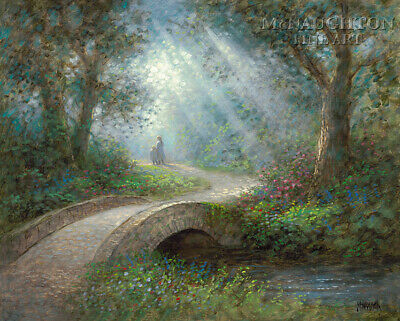 Jon Mcnaughton Path Of Peace 24x30 S/n Canvas Art Two Girls Walking Woods Bridge