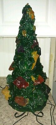 Vintage Christmas Lucite/wax, Tabletop Tree, Very Rare And Unique