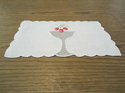 Red Cherries In Champagne Glass Vintage Hand Embroidery 8 Cocktail Napkins