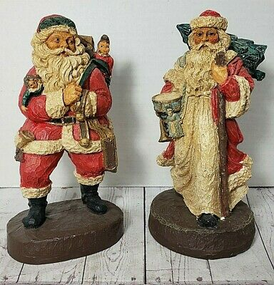 """Two (2) Hand Painted Resin Santa Claus Figurines Vintage Mid-1900s 8"""" Christmas"""