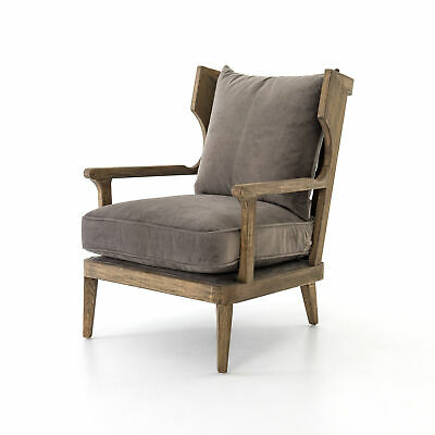"""37.25"""" L Anders Chair Imperial Mist Occasional 100% Polyester Oak Lamont Modern"""