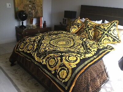 Costom Made Large Throw With Set Of 3 Pillows Gold Black Barrocco With Fringe