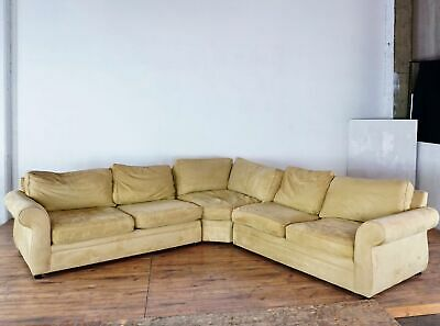 Pottery Barn Contemporary Pearce Upholstered Suede Sectional