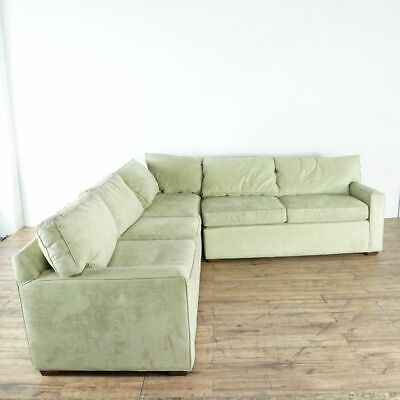 Pottery Barn Vintage Suede Upholstered L Form Sectional Sofa