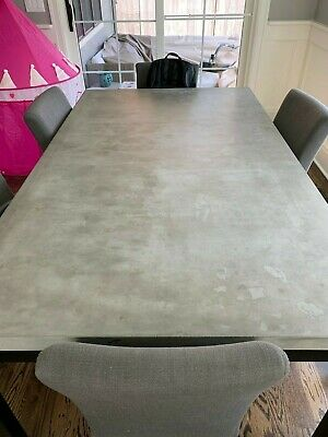 Crate And Barrel Parsons Concrete Top/dark Steel Base Dining Table + Chairs