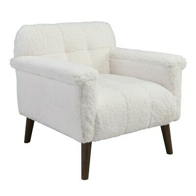 """31"""" W Sheepskin Occasional Chair Soft White Polyester Solid Wood Legs Modern"""