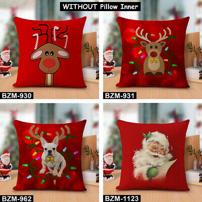 3 Sets Red Christmas Santa Claus Tree Deer Pillow Cases Throw Xmas Cushion Cover