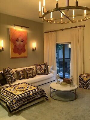 Custom Made Versace Throw Plus 3 Pillows Carre Collection Print Black Gold