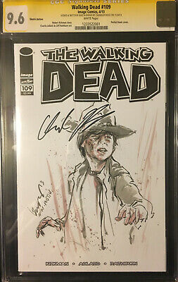 Walking Dead #109 Blank Signed Chandler Riggs Sketch By Buzz Zombie Rare